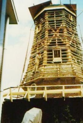 De molen tijdens de restauratie.