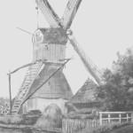 De wipkorenmolen zoals deze van ca 1622 tot 1885 aan de Oudeweg stond